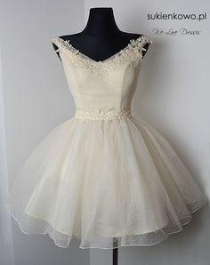Sukienkowo.pl - Sukienka rozkloszowana tiulowa z gipiurą waniliowa SCARLET