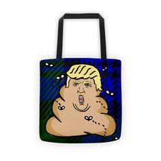 trump plaid poop Tote bag
