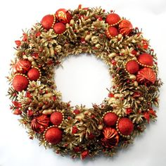 Złoto-czerwony wianek świąteczny XXL Christmas Wreaths, Xmas, Christmas Is Coming, Flower Arrangements, Holiday Decor, Flowers, Advent, Nova, Home Decor