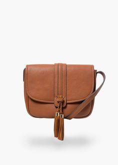 Pebbled cross-body bag -  Women   MANGO