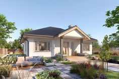 Projekt domu parterowego Lucia DCB88 o pow. 93,61 m2 z dachem kopertowym, z tarasem, sprawdź! Bungalow Porch, Bungalow House Design, Design Case, Gazebo, House Plans, Villa, Outdoor Structures, Patio, Outdoor Decor