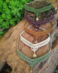 Macrame Colar, Macrame Necklace, Micro Macrame, Macrame Jewelry, Crochet Necklace, Diy Crafts Jewelry, Diy And Crafts, Handmade Jewelry, Tribal Fusion