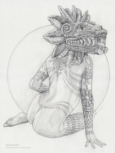 In 2011 I started a personal project inspired by classic pin-up, tattoos and pre hispanic cultures. Now I'm doing a remake, playing with a new original pencil drawing and digital color. Mayan Tattoos, Mexican Art Tattoos, Chicano Drawings, Chicano Art, Skeleton Drawings, Cute Drawings, Quetzalcoatl Tattoo, Aztec Drawing, Arte Lowrider