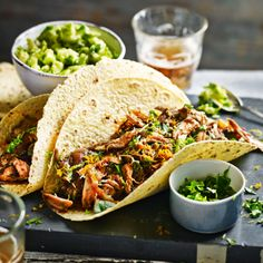 Pulled Chicken Tacos with Green Apple and Avocado Salsa
