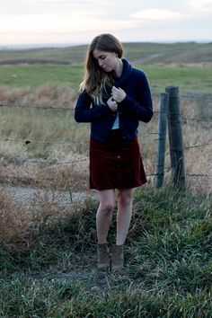 fall skirt, sweater, and booties