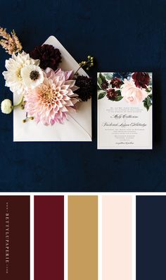 Dreaming of fall wedding ideas for your autumn wedding? This floral wedding invitation might be just what you're looking for! Evoke an evening filled with bold blooms and champagne toasts with these burgundy fall wedding invitations. Fall Color Palette, Colour Pallete, Colour Schemes, Wedding Color Schemes, Color Palettes, Palette Pantone, Fall Wedding Invitations, Wedding Stationery, Fall Wedding Colors