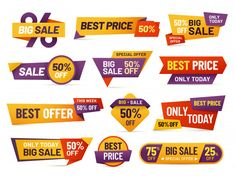 cheap price flyer best offer price and big sale pricing tag badge design. limited sales offer label or store discount banner card isolated vector icons collection Badge Design, Label Design, Web Design, Vector Design, Design Ideas, Coupon Template, Icon Collection, Sale Banner, Flowchart