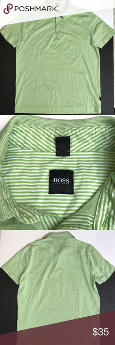 Men's Hugo Boss Pear Green Polo Shirt Small EUC EUC Hugo Boss Pear or Acovado green polo shirt. 100% cotton, very soft. No stains or holes, from smoke free home. Hugo Boss Shirts Polos
