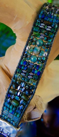 Reserve ***Mixed GREEN GEMSTONE single Hunter Leather Bracelet with Hematite…