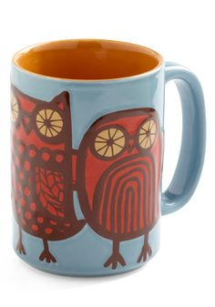 Owl Ready to Go Mug in Blue - Blue, Owls, Red, Brown, Dorm Decor, Eco-Friendly, Mid-Century, Top Rated