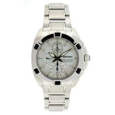 Seiko Men's SNDZ19 Velatura Stainless Steel White Dial Chronograph Watch Seiko. $473.99. White dial. Stainless steel bracelet. Scratch resistant hardlex. Water-resistant to 330 feet (100 M). Stainless steel case. Save 32% Off!