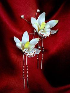 BRIDAL HAIR FLOWER Hawaiian White Orchid Tropical by MalamaPua, $14.99