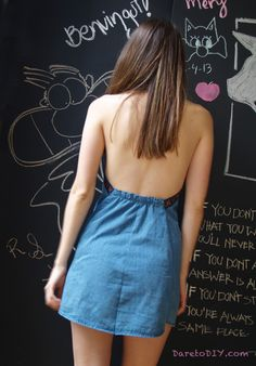 Turn your boyfriend denim shirt into a summer dress (for you) DIY tutorial on www.daretodiy.com