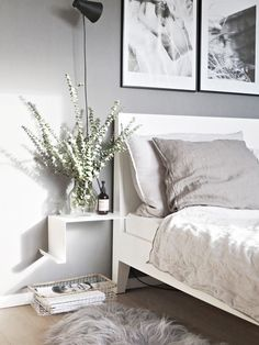 a white curved metal shelf looks super airy and light