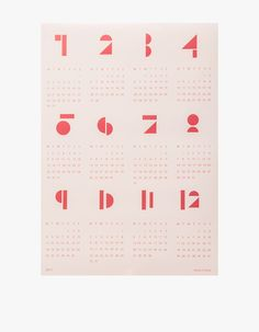 2017 wall calendar from Snug Studio. Available in White, Blue, Pink or Light Grey. Modern, geometric design presents entire calendar year at a glance. Week begins on Monday. Printed on matte paper in A2 format.   • 170 g paper • 16.5 x 23.4 in. • Made