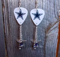 White and Blue Cowboys Guitar Pick Earrings with Dangles by ItsYourPickToo on Etsy