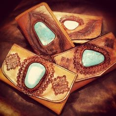 Boho Hand-Tooled Leather & Turquoise Wallets.