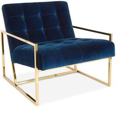 Jonathan Adler Goldfinger Chair (€1.730) ❤ liked on Polyvore featuring home, furniture, chairs, accent chairs, navy blue furniture, navy accent chair, navy blue accent chair, jonathan adler and navy furniture