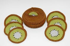 Kiwi Coaster Set of 6 With Matching Box, Crocheted Coasters
