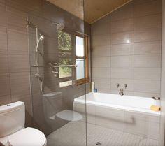 partially glazed wet room