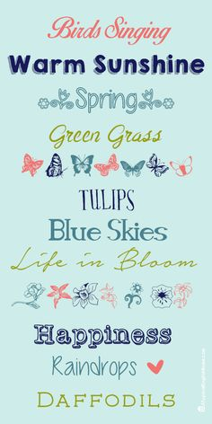 After a mild but incredibly stormy winter I am very much looking forward to spring, and some less extreme weather! For my spring fonts co. Spring Font, Spring Sign, Happy Spring, Hello Spring, Happy March, Typography Fonts, Hand Lettering, Spring Quotes, Doodles