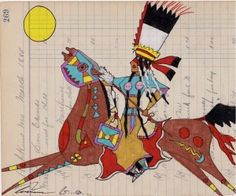 Terrance Guardipee, Blackfeet: ledger art