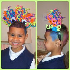 Crazy Hair Day For My Little Boy I Just Not A Double Row Headband From Twisted Pipe Cleaners Around The And Glued Eyes