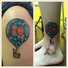 Couple tattoo Patchwork Hot-air balloon with bear Original design