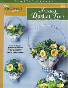 Folded Basket Trio Plastic Canvas Pattern by NeedlecraftSuperShop