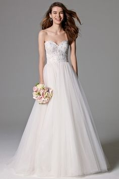 Watters, Sweetheart A-Line Wedding Dress with Natural Waist in Tulle. Bridal Gown Style Number:33236878