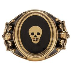Alexander McQueen Gold Enamel Signet Ring ($360) ❤ liked on Polyvore featuring men's fashion, men's jewelry, men's rings, gold, mens gold rings, mens signet rings, mens band rings, mens gold signet rings and mens gold band ring
