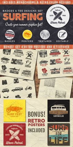 Vintage Surfing Graphics Pack. Objects. $10.00