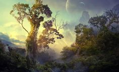 This is such an elegant fantasy landscape wallpaper. Thanks to http://www.pinterest.com/designvkp/landscape-wallpapers/