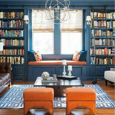 1 Kindesign's collection of 63 Incredibly cozy and inspiring window seat ideas will help inspire your search for the perfect ideas on designing your own window seat. Designing a window seat has always posed Home Design, Home Library Design, Interior Design, Design Ideas, Library Ideas, Library Ladder, Cozy Library, Library Wall, Interior Ideas