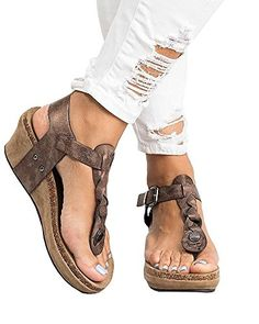 6907b453bb1a88 Womens Braided Mid High Wedge Sandals Casual T-Strap Wedge Heel Sandal Shoes.  Chaussures Femme