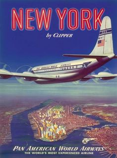 New-York-by-Clipper-over-Manhattan-Island-Vintage-Travel-Advertisement-Poster