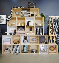 Crate display - creates a full wall of display space and separates collections so you can tell a different story in each space.