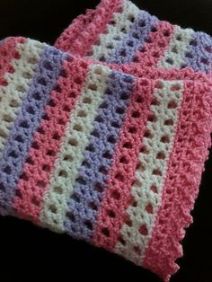 Ravelry: Striped Lace Crochet Baby Blanket