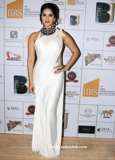 Sunny Leone in White Satin Saree with shoulder detailing and Halter Neck Blouse-PakeezaAnchal.com