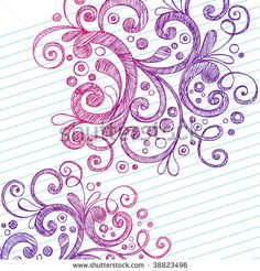 Hand-Drawn Abstract Sketchy Swirly Doodles on Lined Notebook Paper Vector Illustration - stock vector