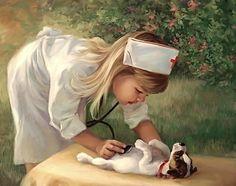 Jack Russell Artwork - Girl Nurse checking the Dog's chest Is OK Jack Russell Terriers, Jack Russells, Vintage Nurse, Vintage Art, Animation, Vintage Pictures, Dog Art, Belle Photo, Cute Kids