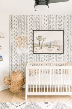 Get baby boy nursery room ideas from these gorgeous gender neutral nurseries. As I get ready for my newborn to move into a crib, I'm loving these nursery decals and nursery artwork along with the mode Baby Room Boy, Baby Room Decor, Baby Boys, Baby Room Ideas For Boys, Nursery Artwork, Nursery Decals, Nursery Room, Boho Nursery, Boys Nursery Wallpaper