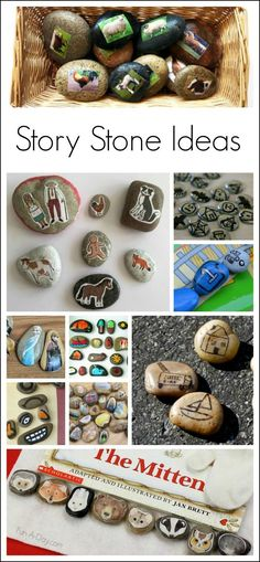 10+ ideas and activities for using story stones with kids - I love that they can be created in so many different ways. Such a creative way to retell stories.