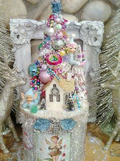 Vintage Ornaments Bottle Brush Tree Victorian Christmas Pixie Candyland Hat Box | eBay
