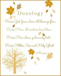DOXOLOGY PRINTABLE- a printable prayer of praise suitable for framing.