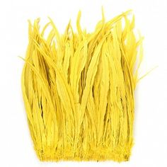 """Rooster Coque Tails-Bleach-Dyed Bright Yellow Product SKU: CCNSD16_18 Size: 15-18"""" (strung feathers) Shop Feathers: www.featherplace.com"""