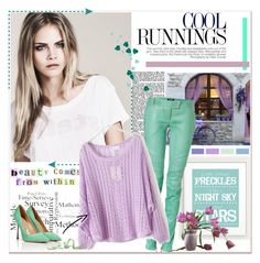 """Mint and purple"" by annabu ❤ liked on Polyvore featuring Balmain, Sergio Rossi, purple, Pumps, mint and leatherpants"