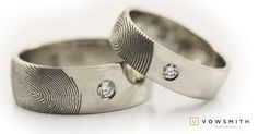 Personnalized fingerprint wedding bands white gold and quite nice diamonds too! Fingerprint Wedding Bands, Fingerprint Ring, Rings For Men, Diamonds, White Gold, Wedding Rings, Engagement Rings, Nice, Jewelry