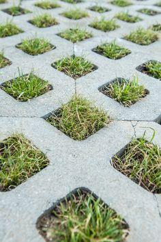 Permeable pavers offer durability without disrupting the environment. Veg Garden, Garden Paths, Concrete Paver Patio, Permeable Driveway, Paver Designs, Driveway Entrance, Parking Design, Landscape Architecture, Outdoor Living
