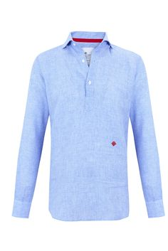 """Blue micro-houndstooth """"Hamptons"""" half placket shirt w/ logo embroidered in fire engine red. 100% linen"""
